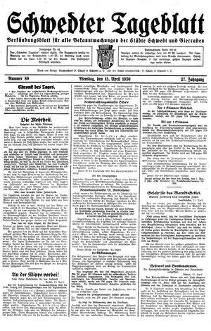 Schwedter Tageblatt on Apr 15, 1930