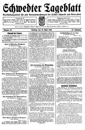 Schwedter Tageblatt vom 22.04.1930
