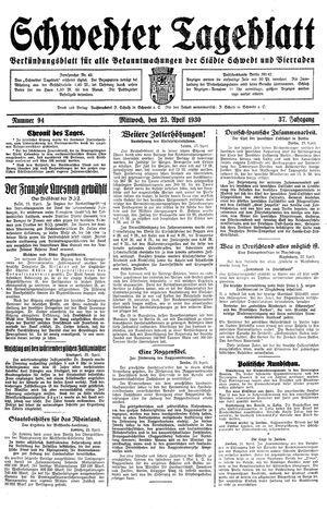 Schwedter Tageblatt vom 23.04.1930