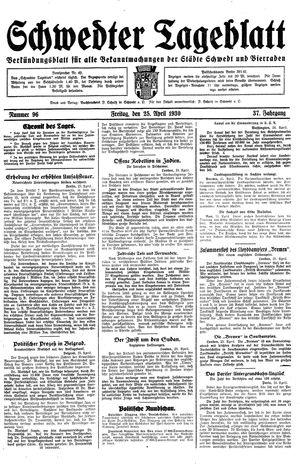Schwedter Tageblatt vom 25.04.1930
