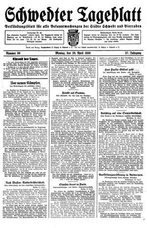 Schwedter Tageblatt vom 28.04.1930