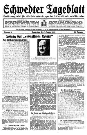 Schwedter Tageblatt vom 07.01.1932