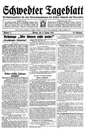 Schwedter Tageblatt vom 11.01.1932