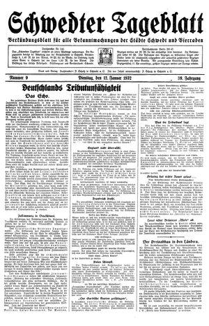 Schwedter Tageblatt vom 12.01.1932