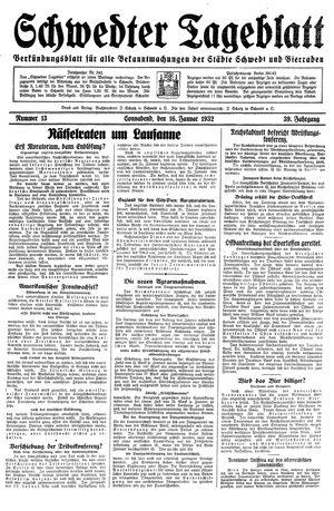 Schwedter Tageblatt vom 16.01.1932