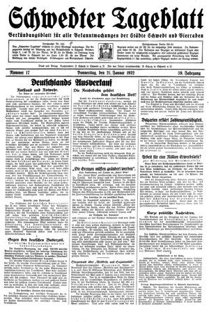 Schwedter Tageblatt vom 21.01.1932