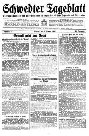 Schwedter Tageblatt vom 08.02.1932