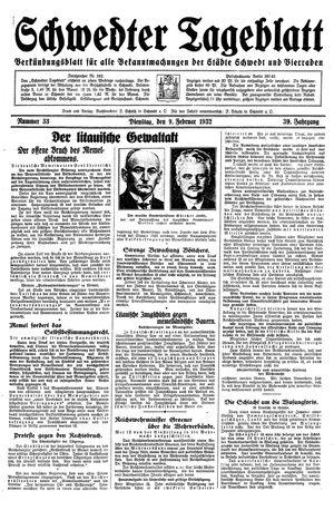 Schwedter Tageblatt vom 09.02.1932