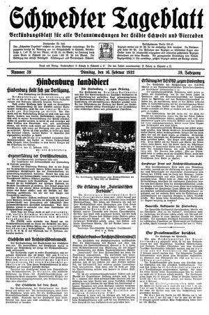 Schwedter Tageblatt vom 16.02.1932