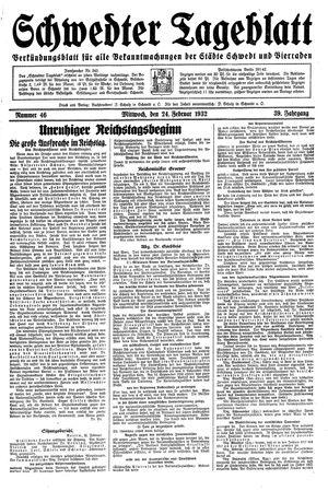 Schwedter Tageblatt on Feb 24, 1932