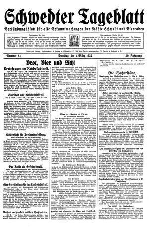 Schwedter Tageblatt vom 01.03.1932