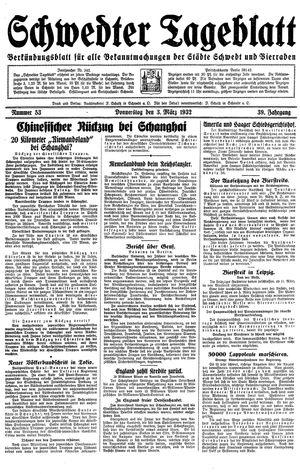Schwedter Tageblatt vom 03.03.1932