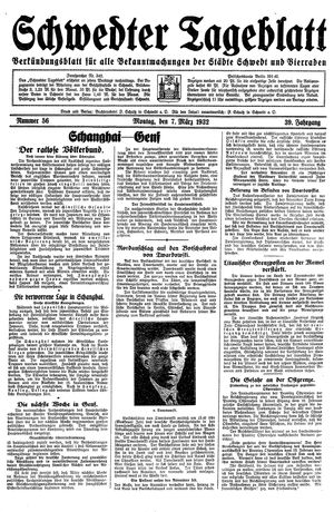 Schwedter Tageblatt vom 07.03.1932