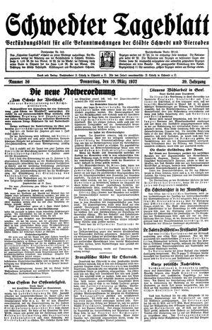 Schwedter Tageblatt vom 10.03.1932