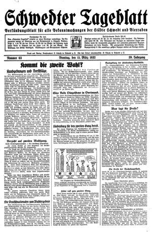 Schwedter Tageblatt vom 15.03.1932