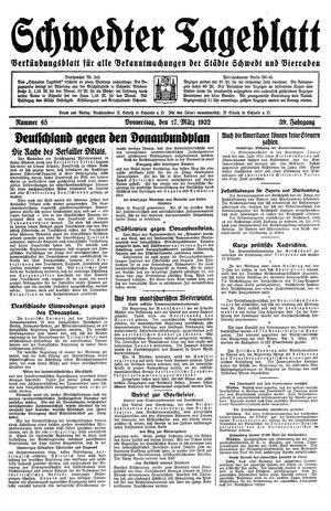 Schwedter Tageblatt vom 17.03.1932