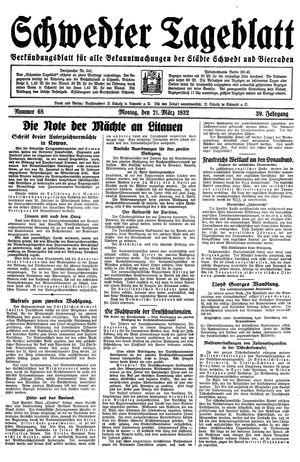 Schwedter Tageblatt vom 21.03.1932