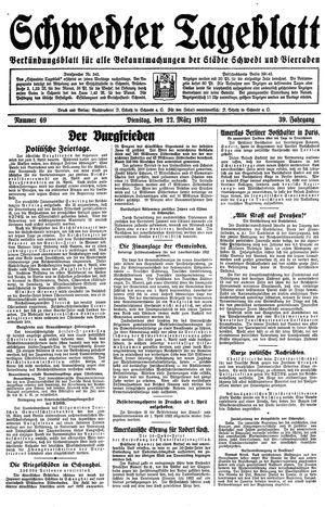 Schwedter Tageblatt vom 22.03.1932
