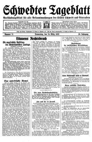 Schwedter Tageblatt vom 24.03.1932