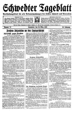 Schwedter Tageblatt vom 26.03.1932