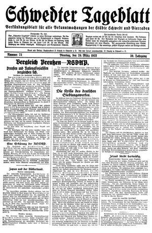 Schwedter Tageblatt vom 29.03.1932