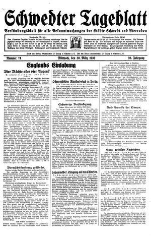 Schwedter Tageblatt vom 30.03.1932