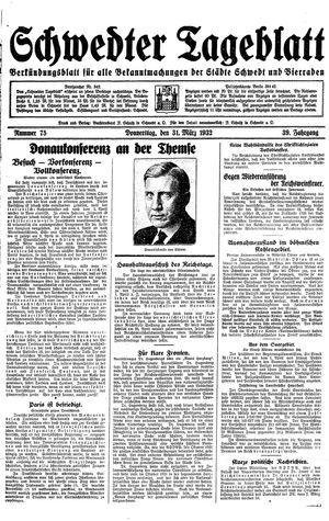 Schwedter Tageblatt vom 31.03.1932