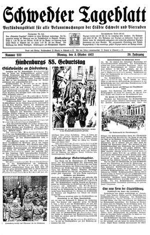 Schwedter Tageblatt vom 03.10.1932