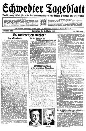 Schwedter Tageblatt vom 06.10.1932