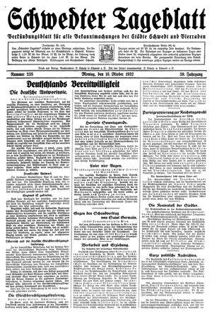 Schwedter Tageblatt vom 10.10.1932