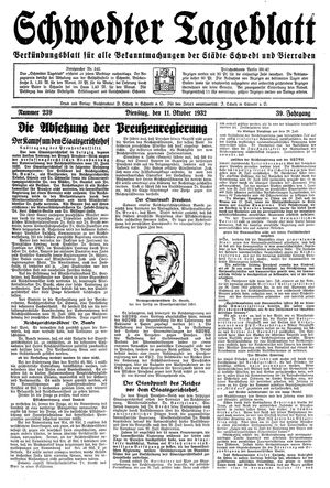 Schwedter Tageblatt vom 11.10.1932