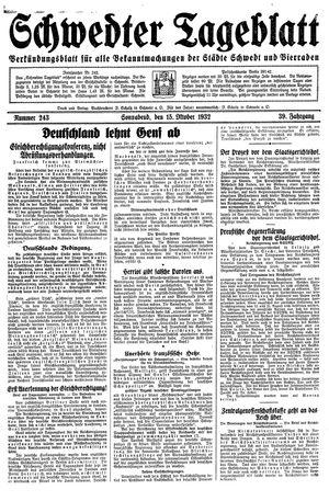 Schwedter Tageblatt vom 15.10.1932