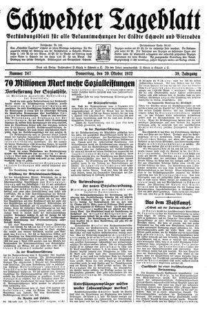 Schwedter Tageblatt vom 20.10.1932