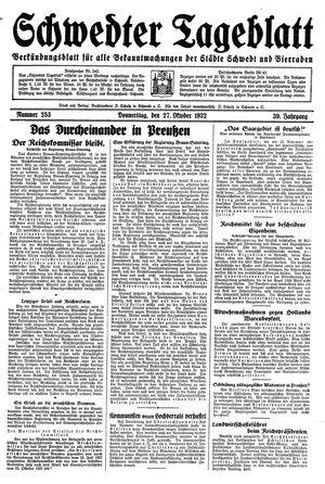 Schwedter Tageblatt vom 27.10.1932