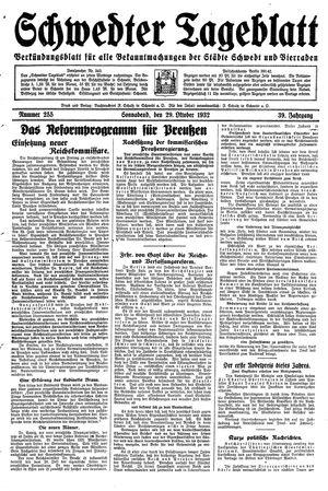 Schwedter Tageblatt vom 29.10.1932