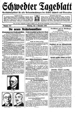 Schwedter Tageblatt vom 01.11.1932