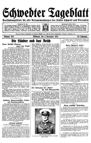 Schwedter Tageblatt vom 02.11.1932