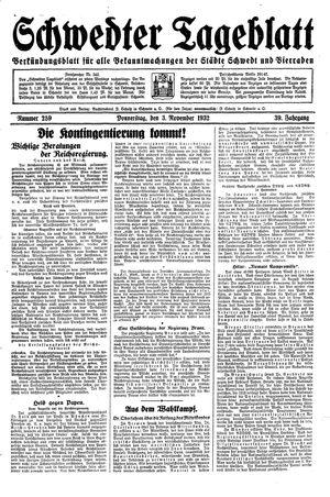 Schwedter Tageblatt vom 03.11.1932