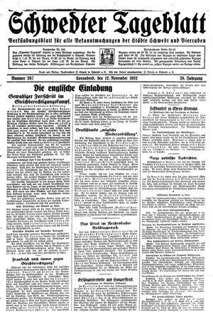 Schwedter Tageblatt vom 12.11.1932