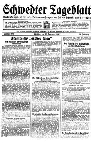 Schwedter Tageblatt vom 15.11.1932
