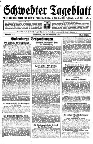 Schwedter Tageblatt vom 19.11.1932