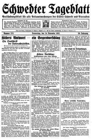 Schwedter Tageblatt vom 24.11.1932