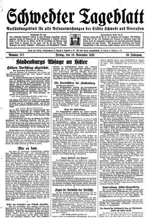 Schwedter Tageblatt vom 25.11.1932
