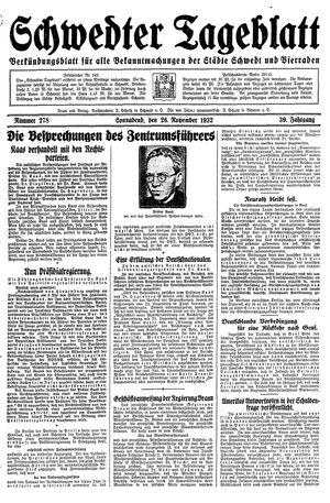 Schwedter Tageblatt vom 26.11.1932