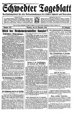 Schwedter Tageblatt vom 29.11.1932