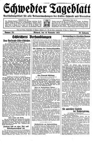 Schwedter Tageblatt vom 30.11.1932