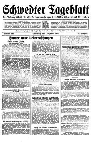 Schwedter Tageblatt vom 01.12.1932