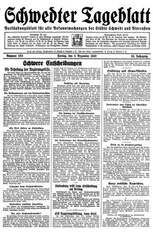 Schwedter Tageblatt vom 02.12.1932