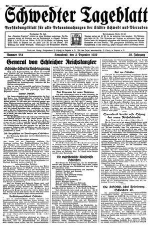 Schwedter Tageblatt vom 03.12.1932
