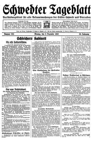 Schwedter Tageblatt vom 05.12.1932